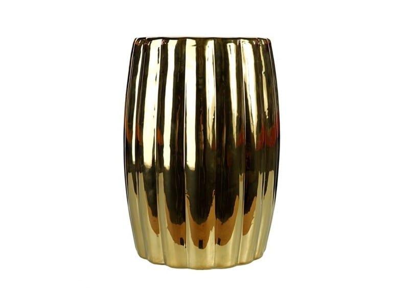 Ceramic stool / coffee table CURVY CERAMIC GOLD - Pols Potten