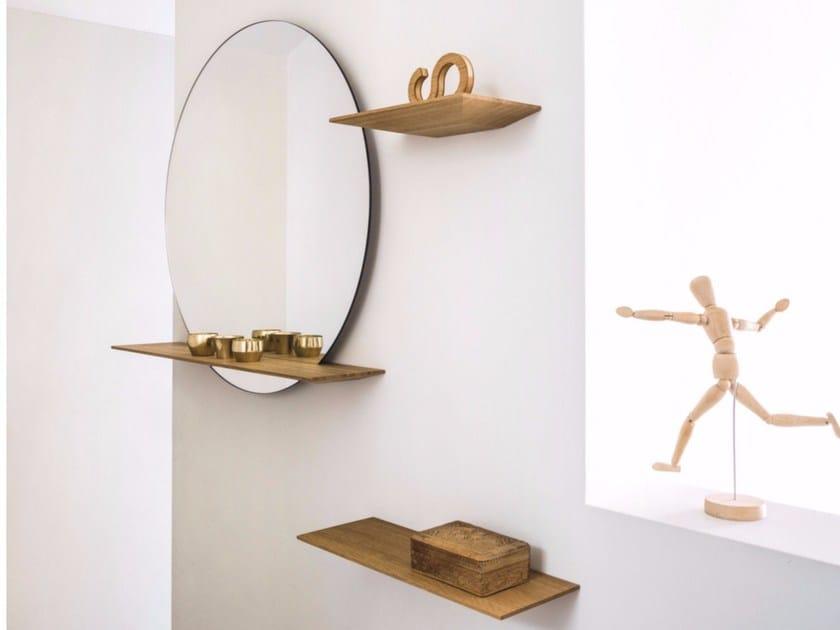 Specchio con mensola in legno cut specchio a parete - Specchio con mensola ...