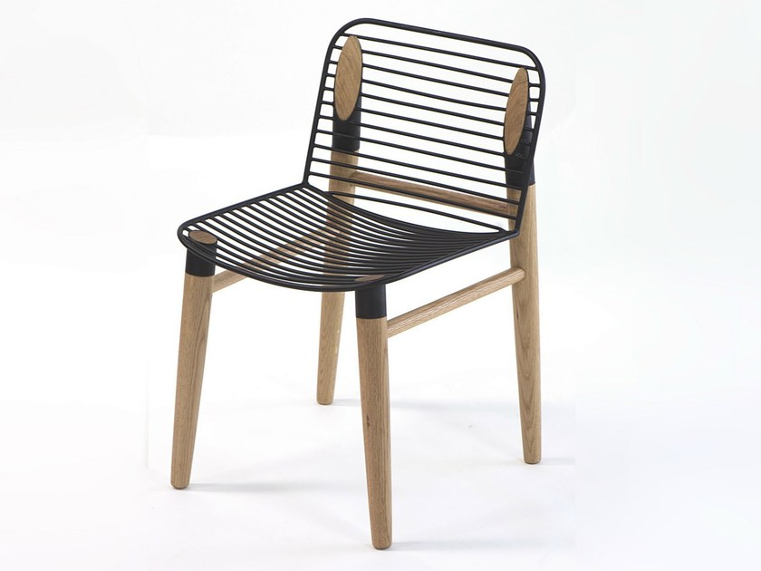 Steel and wood chair CUTTING EDGE CHAIR by Specimen Editions