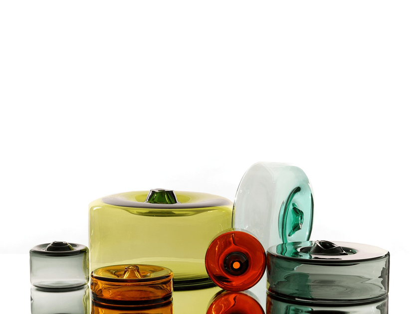 Blown glass decorative object CYLINDER VESSEL - SkLO