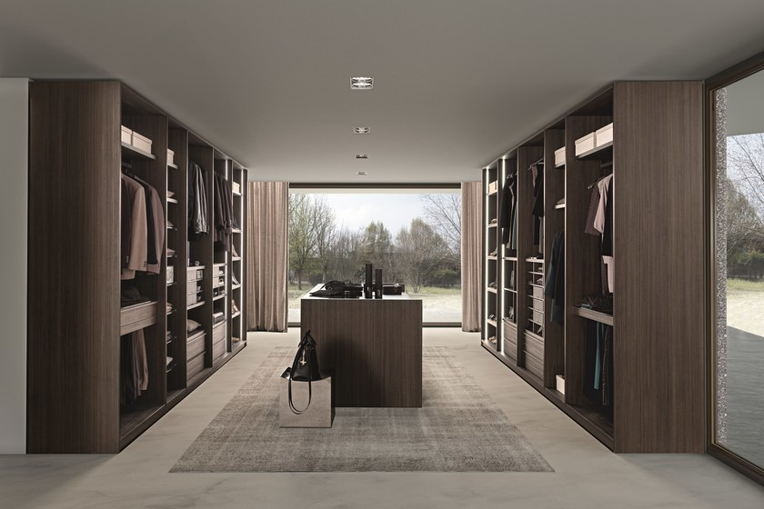 Tecnopolis free walk-in-closet and Atollo free-standing drawer unit in tay melamine.