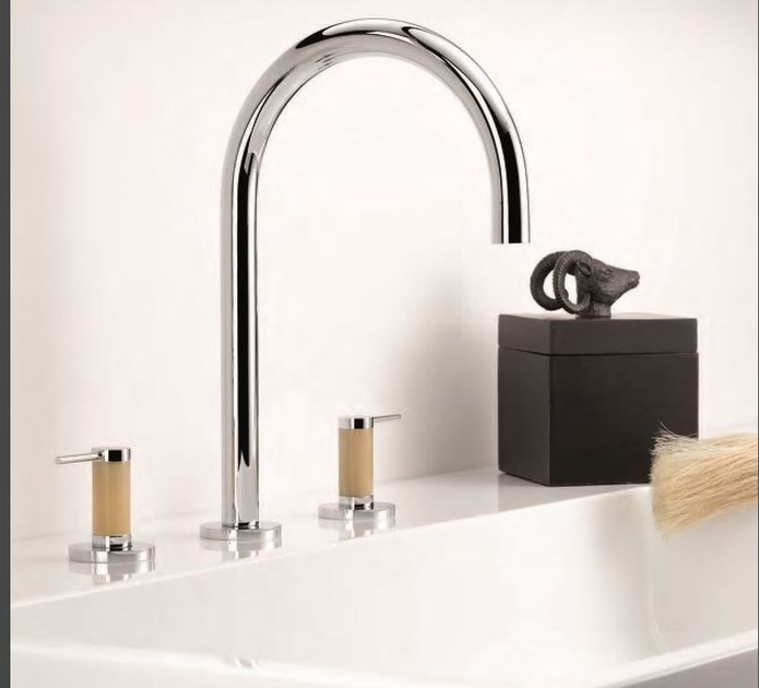 Contemporary style 3 hole chrome-plated steel washbasin mixer with aerator ANOA CORNE CLAIRE | Washbasin mixer - INTERCONTACT