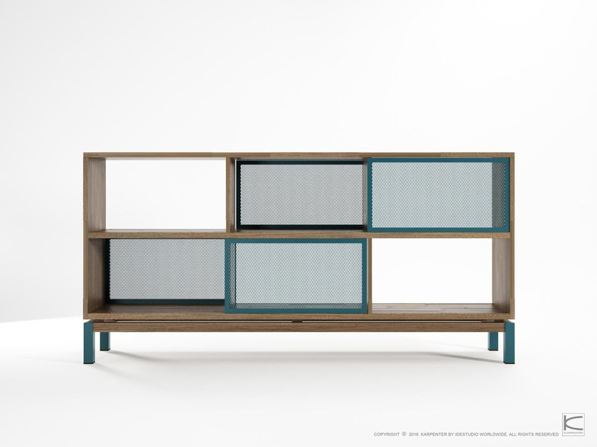 Double-sided teak sideboard with sliding doors COLOR BE BOP SEE-THROUGH - KARPENTER