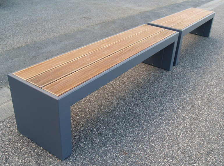Modular steel and wood garden bench STEELAB - IMAGE'IN by ATELIER SO GREEN