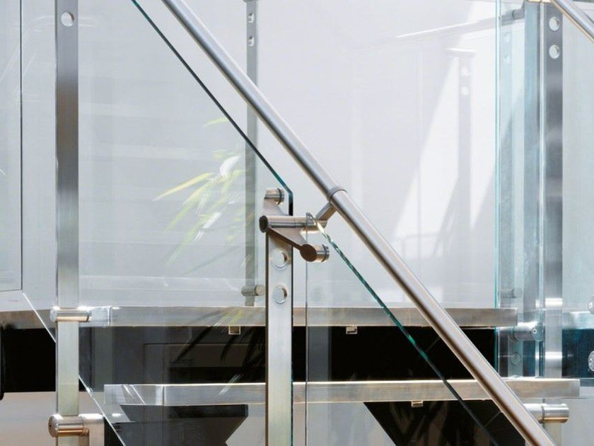 Glass and Stainless Steel balustrade D LINE SPIGOT FIXING GLASS LINK - Q-RAILING ITALIA