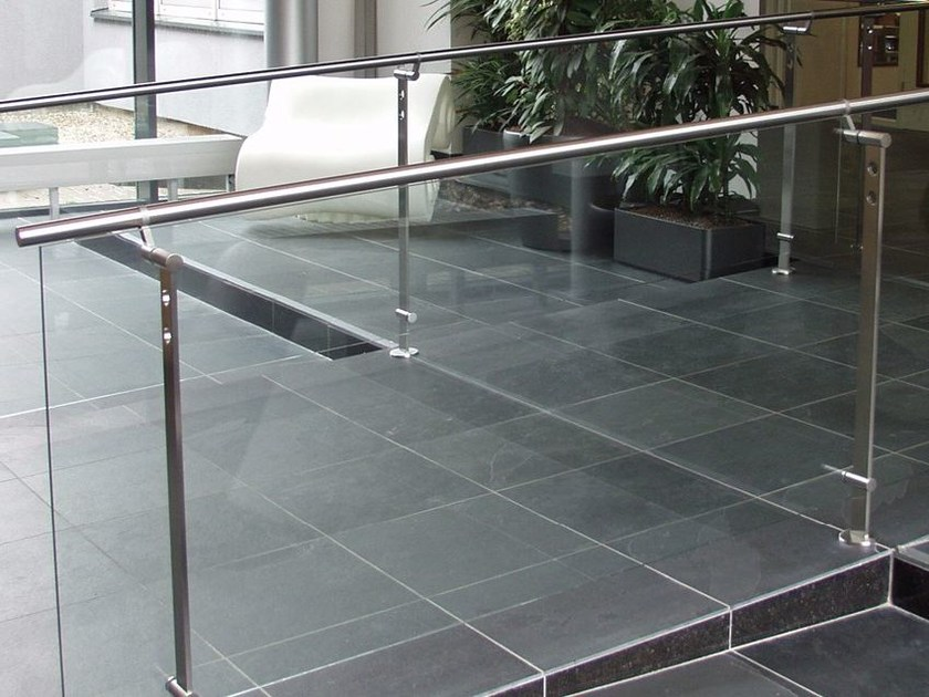 Glass and Stainless Steel balustrade D LINE SPIGOT FIXING - Q-RAILING ITALIA
