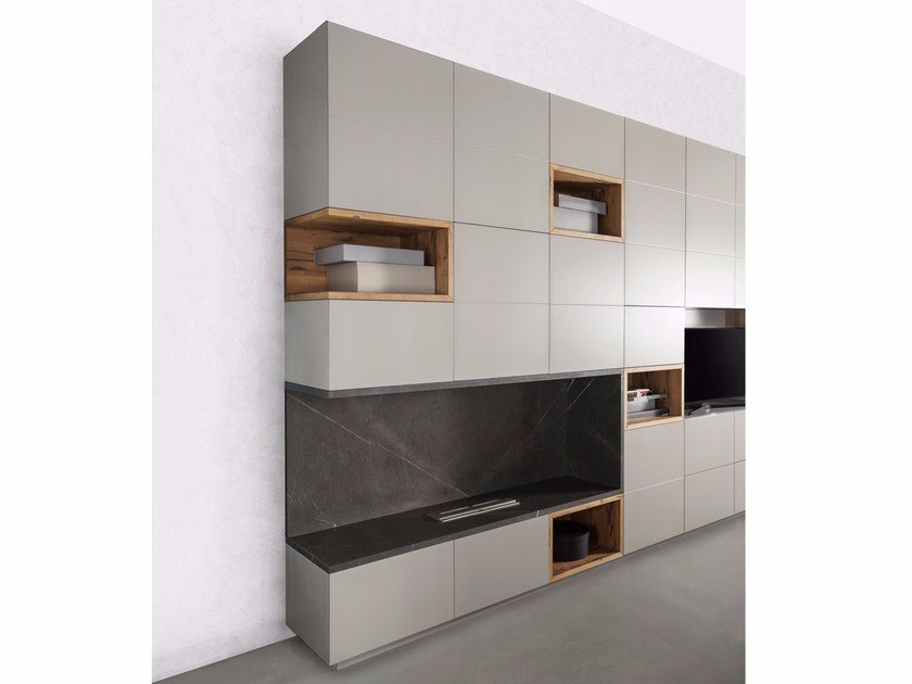 Electrified living room wall system Storage wall - TM Italia Cucine