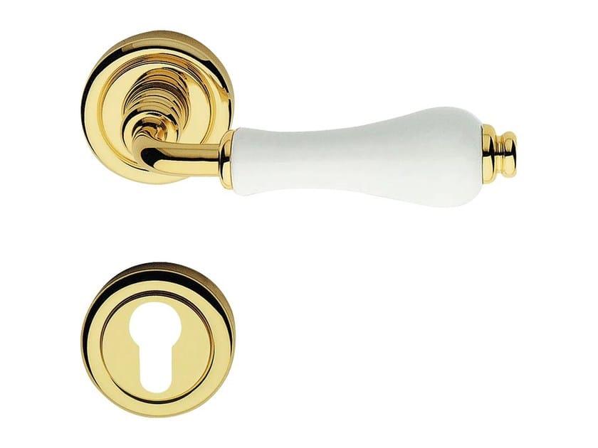 Classic style brass door handle with lock DALIA | Door handle with lock by LINEA CALI'