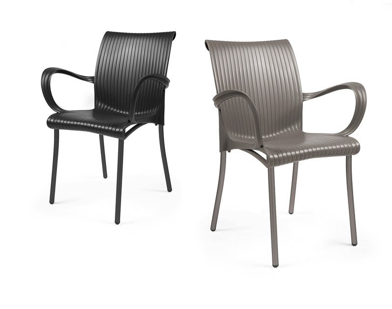 Contemporary style stackable garden chair with armrests DAMA - Nardi