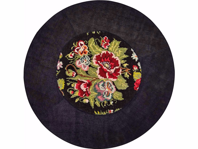 Contemporary style round hemp rug with floral pattern DANDY STRASS FIORI NERO | Round rug - ITALY DREAM DESIGN - Kallisté
