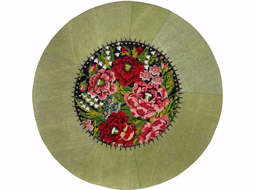 Contemporary style round hemp rug with floral pattern DANDY STRASS FIORI VERDE | Round rug - ITALY DREAM DESIGN - Kallisté