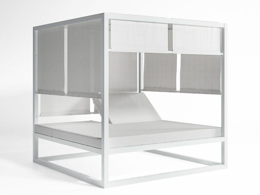 Double recliner canopy thermo lacquered aluminium garden bed DAYBED ELEVADA | Canopy garden bed - GANDIA BLASCO