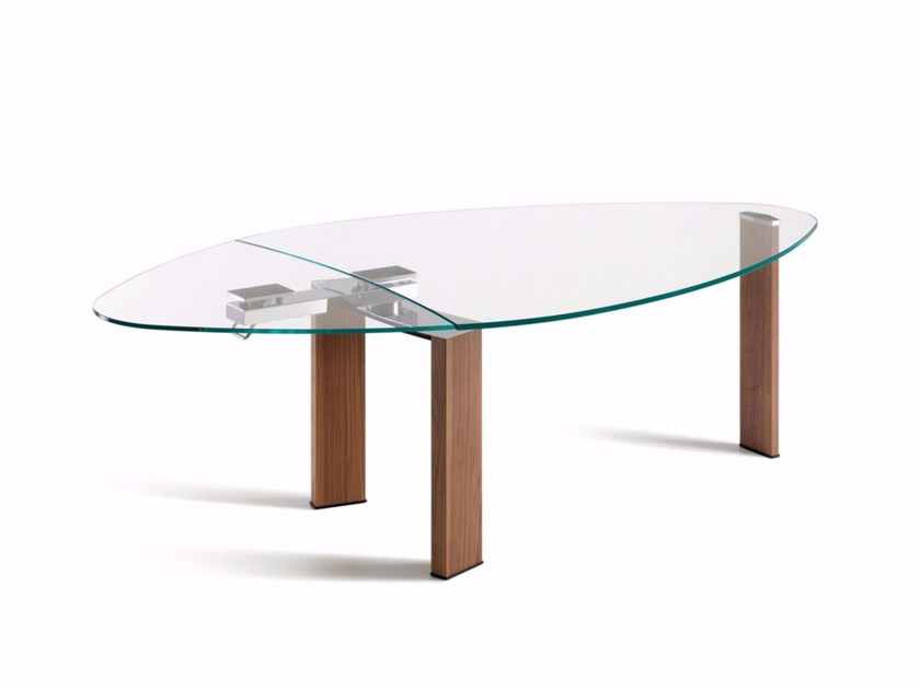 Extending oval crystal table DAYTONA ALMOND by Cattelan Italia