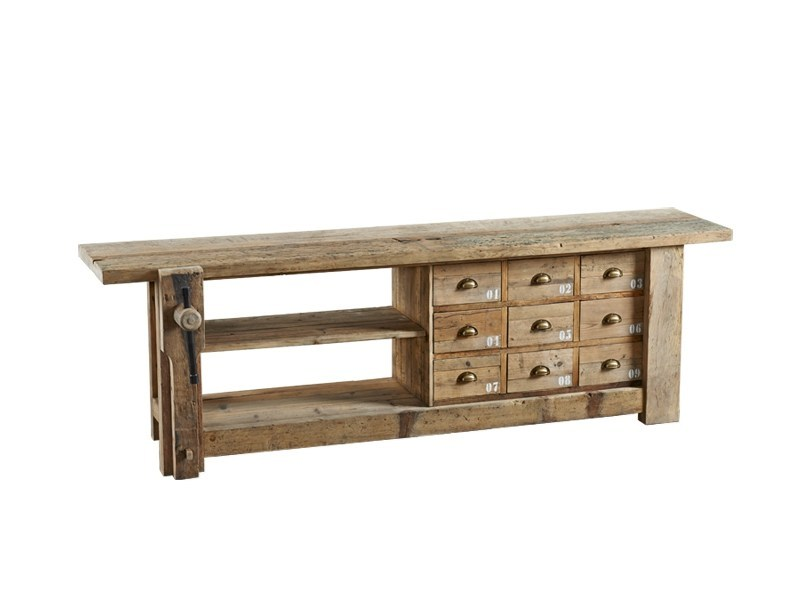 Rectangular wooden console table with drawers DB003295 - Dialma Brown