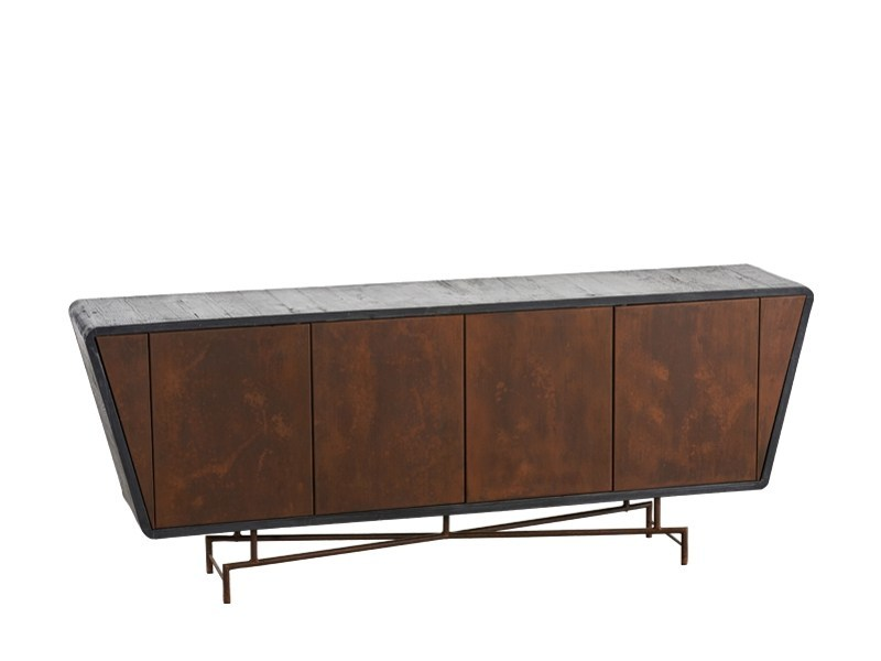 Lacquered reclaimed wood sideboard with doors DB004116 | Sideboard with doors - Dialma Brown