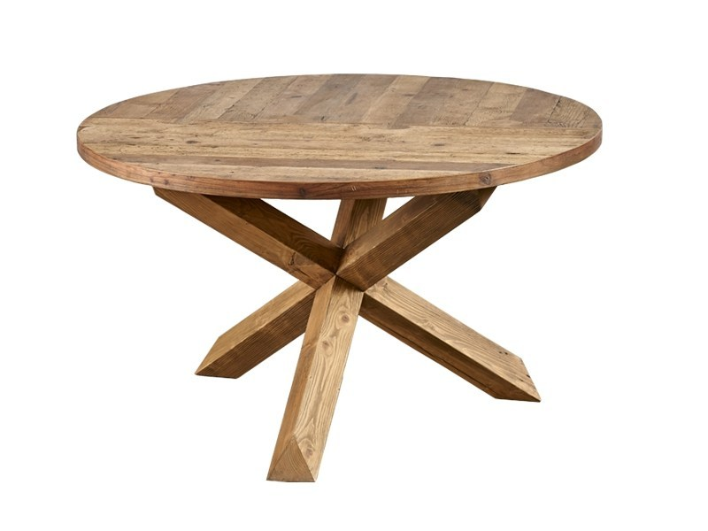 Round reclaimed wood dining table DB004134 - Dialma Brown