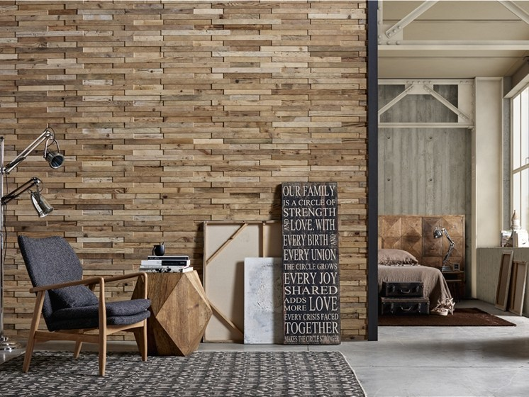 Indoor reclaimed wood wall tiles DB004144 | Wall tiles - Dialma Brown
