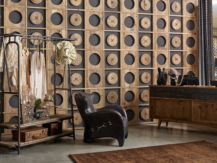 Indoor reclaimed wood wall tiles DB004155 | Wall tiles - Dialma Brown