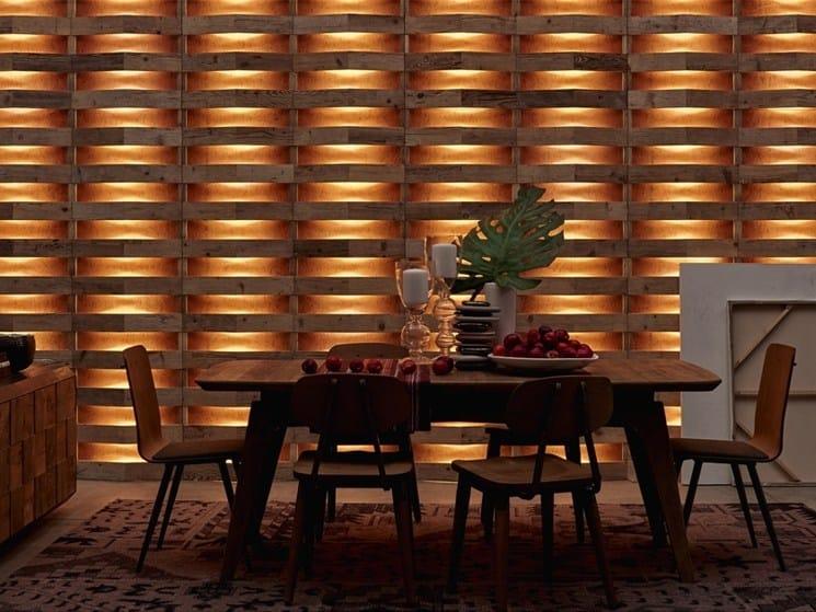 Indoor reclaimed wood wall tiles DB004166 | Wall tiles - Dialma Brown
