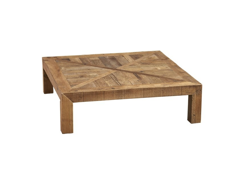 Low square reclaimed wood coffee table DB004177 - Dialma Brown