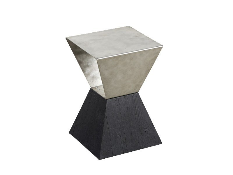 Square steel and wood side table DB004421 - Dialma Brown