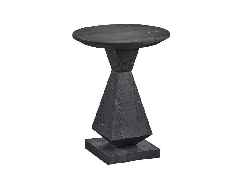 Tavolino di servizio laccato rotondo in pino DB004437 - Dialma Brown