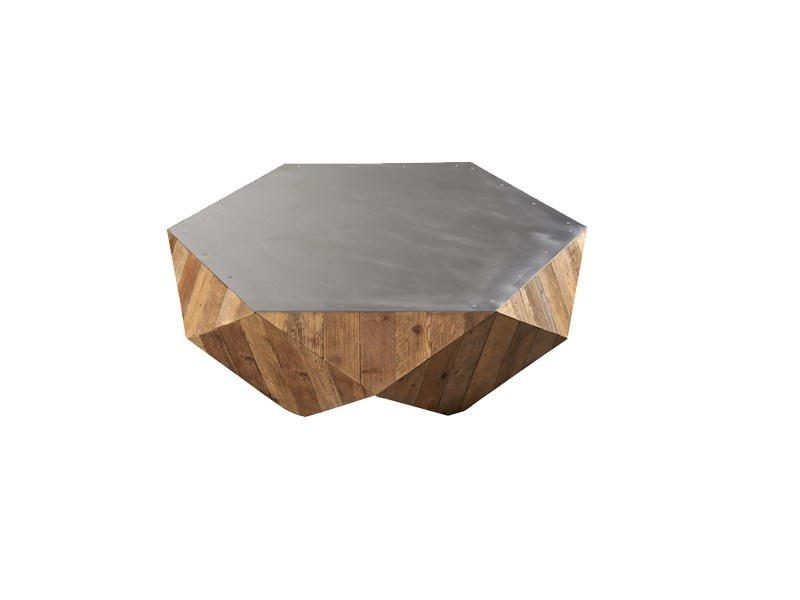 Steel and wood coffee table DB004472 - Dialma Brown