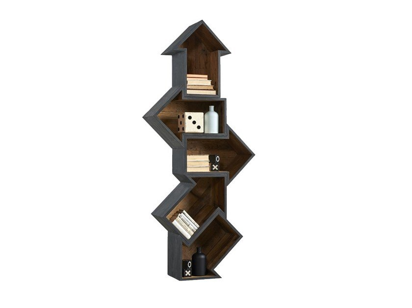 Open lacquered modular pine bookcase DB004501 | Modular bookcase by Dialma Brown