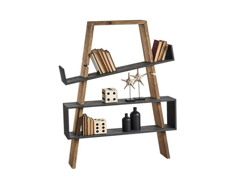 Open double-sided pine shelving unit DB004508 | Double-sided shelving unit - Dialma Brown