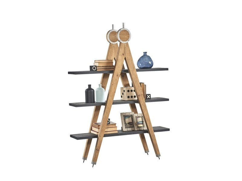 Open double-sided pine shelving unit DB004524 | Double-sided shelving unit - Dialma Brown