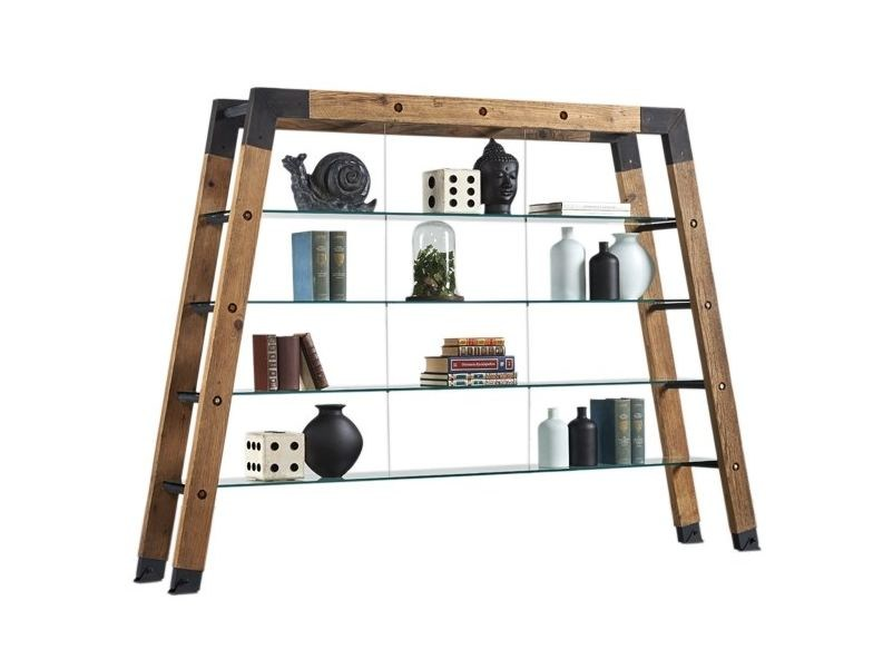 Open double-sided divider shelving unit DB004525 | Divider bookcase - Dialma Brown