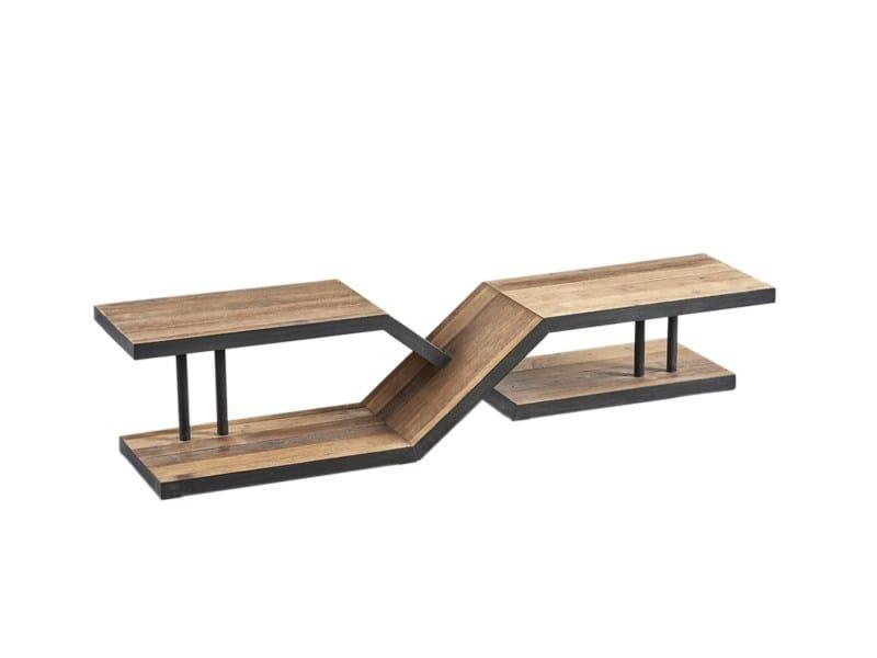 Tavolino basso da caffè rettangolare in pino DB004531 - Dialma Brown