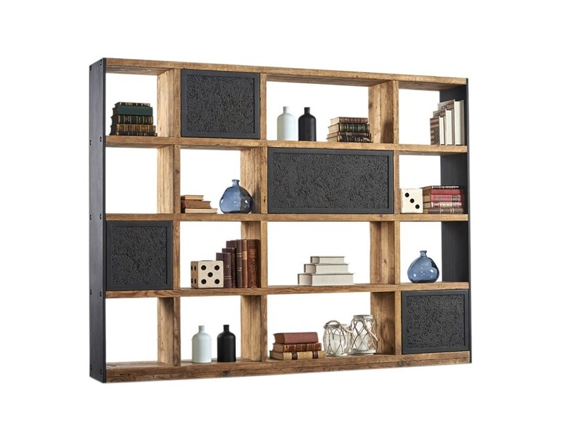 Double-sided divider pine bookcase DB004534 | Double-sided bookcase - Dialma Brown