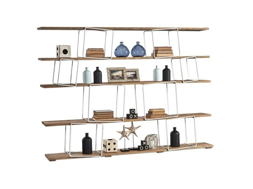 Double-sided divider shelving unit DB004542 | Double-sided shelving unit - Dialma Brown