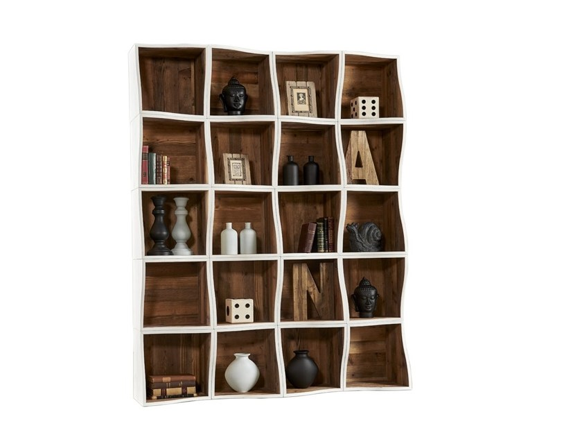 Open lacquered modular pine bookcase DB004562 | Modular bookcase - Dialma Brown