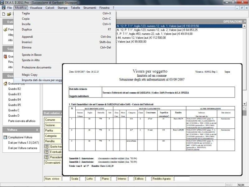 Importazione dati da visura in formato PDF