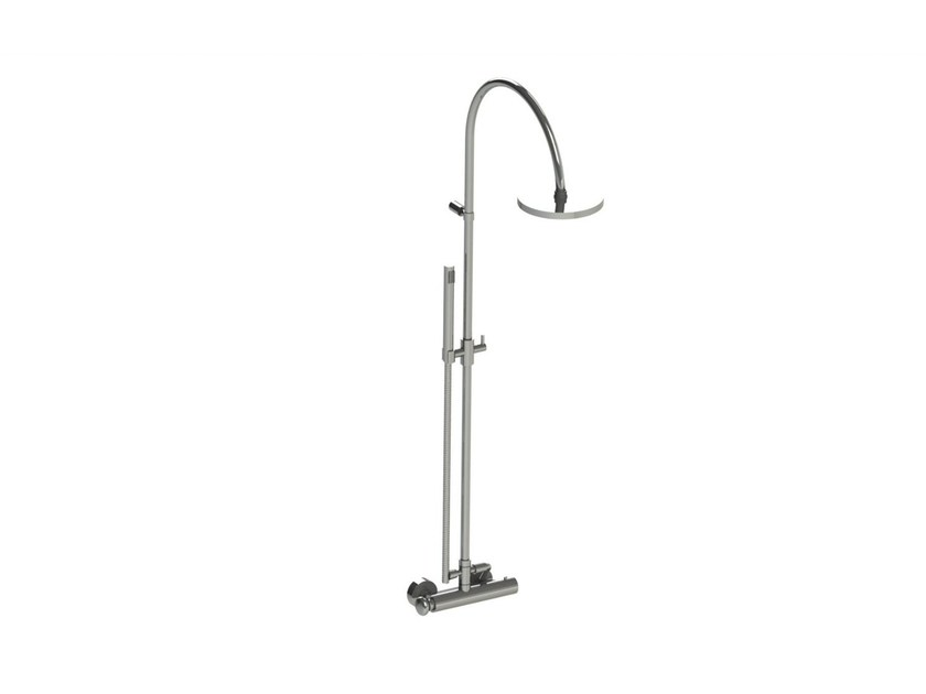 Wall-mounted thermostatic shower panel with hand shower DEAUVILLE | Wall-mounted shower panel - rvb