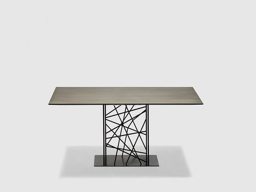 Square metal dining table DEFRAME | Square table - da a