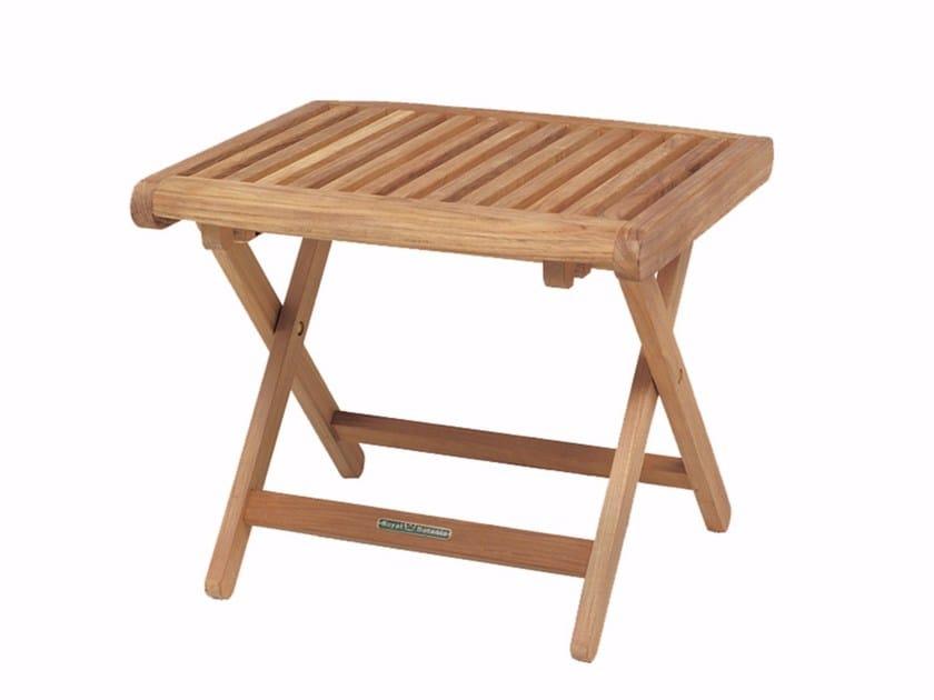 Low folding teak garden stool DEL REY | Stool - ROYAL BOTANIA