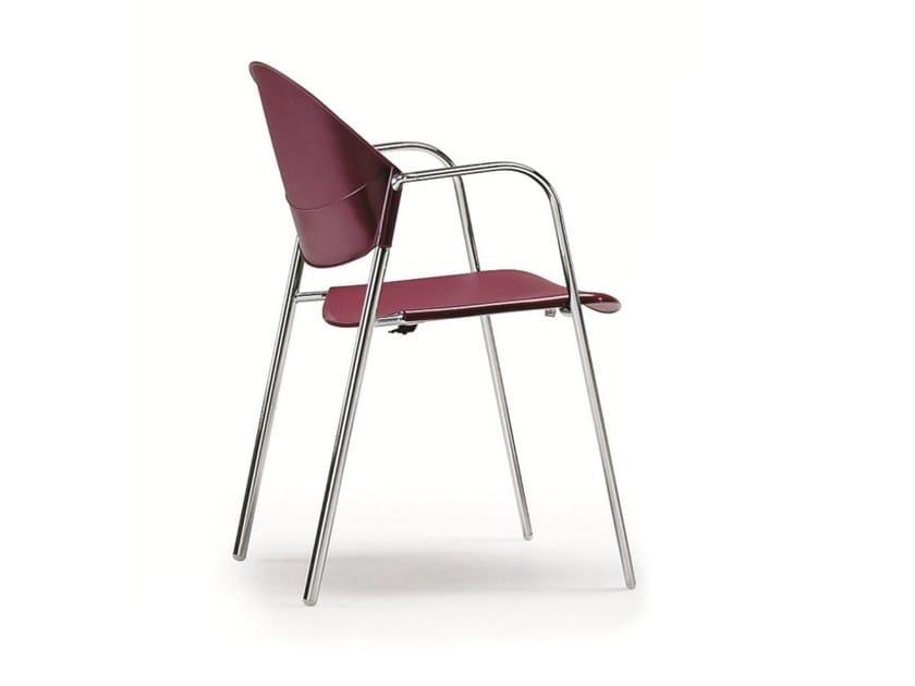 Stackable polypropylene reception chair with armrests DELFI 085 | Polypropylene chair - TALIN