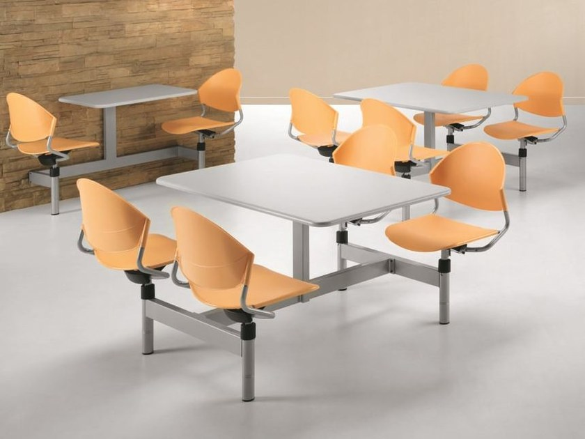 Plastic bench desk with integrated chairs DELFI D800 by TALIN
