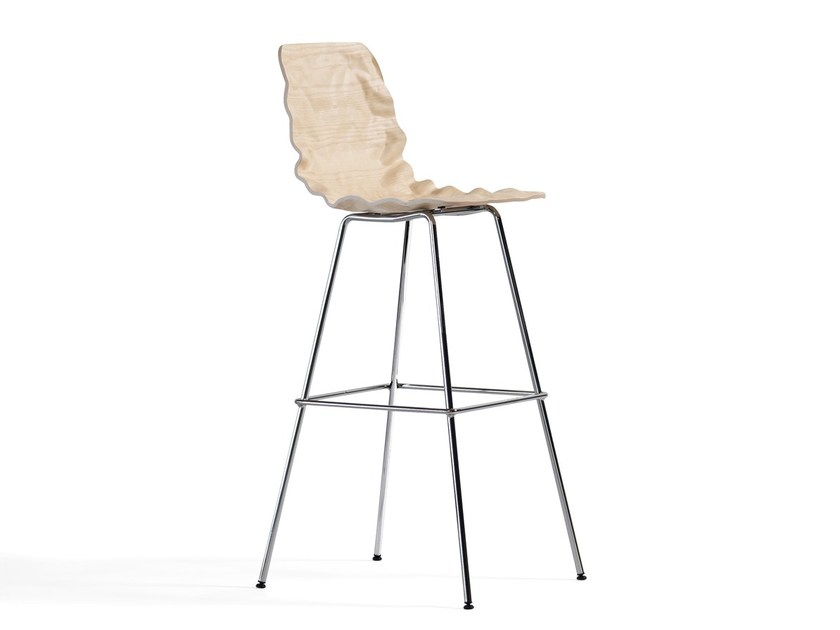 Wood veneer counter stool with footrest DENT | Counter stool - Blå Station