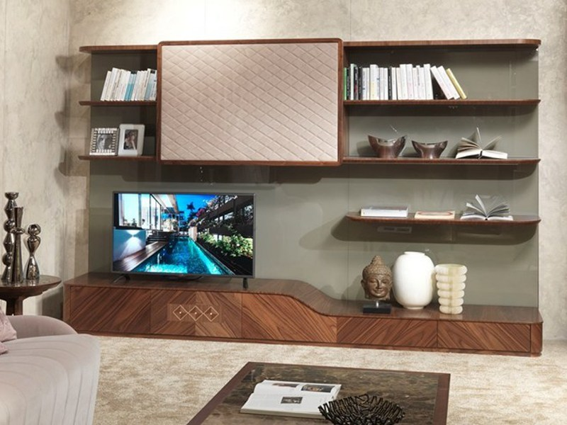 Wooden TV wall system DESYO | Storage wall by Carpanelli Contemporary