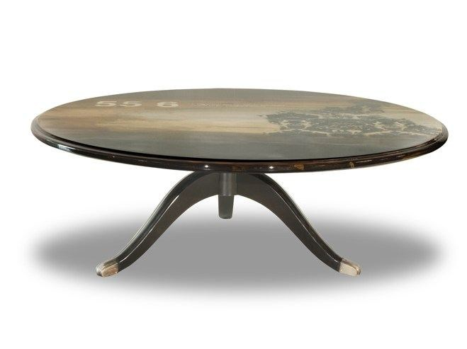 Low round wooden coffee table DIADEMA - BAXTER