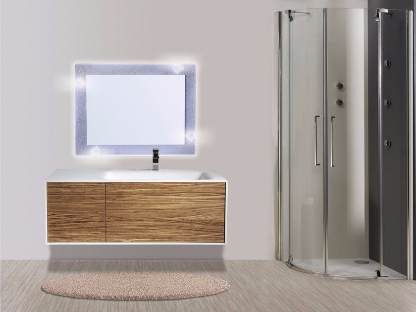 Wall-mounted vanity unit with drawers with mirror DIADEMA CM04DD - LA BUSSOLA