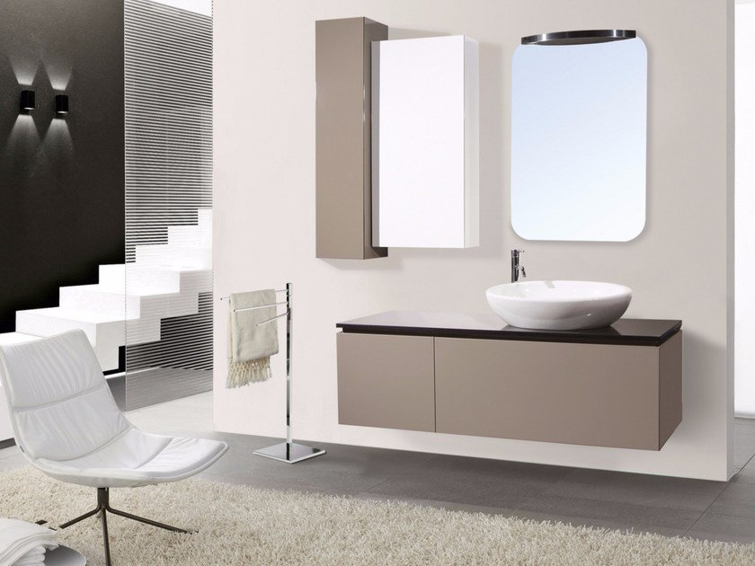 Lacquered wall-mounted vanity unit with mirror DIADEMA CM07DD - LA BUSSOLA
