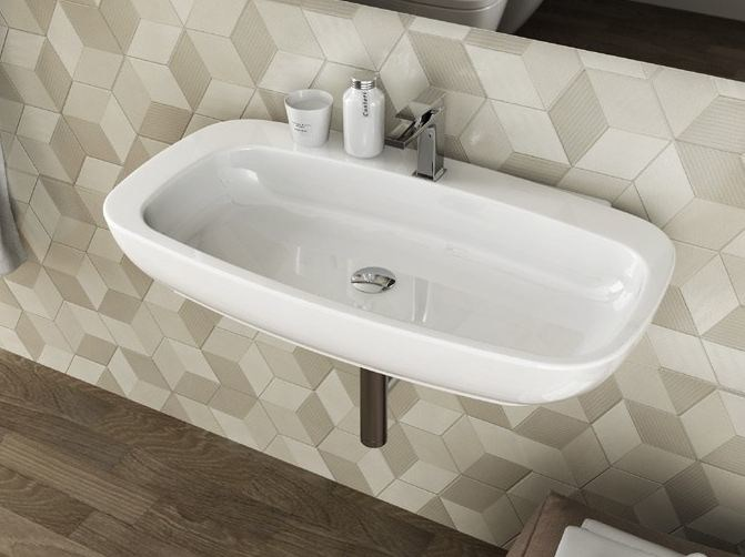 Wall-mounted ceramic washbasin DIAL | Rectangular washbasin - Hidra Ceramica