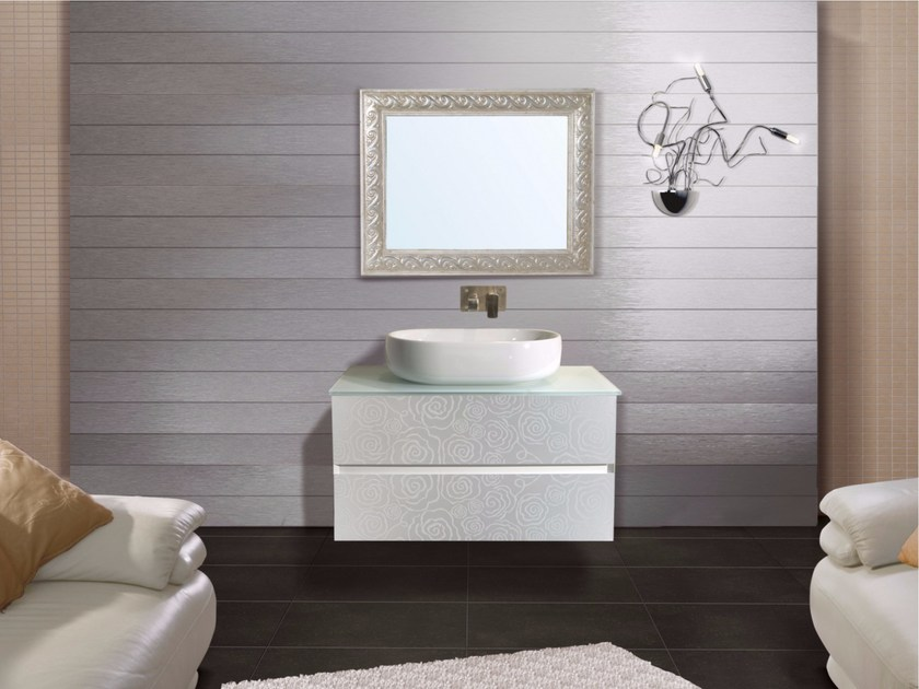 Wall-mounted vanity unit with drawers with mirror DIAMANTE CM03DI - LA BUSSOLA