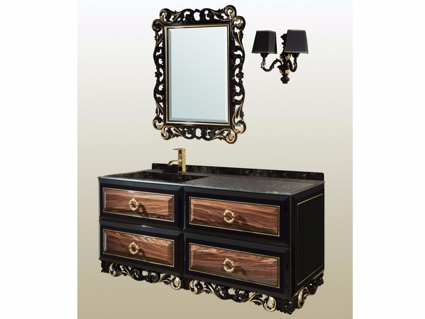 Wall-mounted vanity unit with drawers with mirror DIAMANTE LUXURY CM01DL by LA BUSSOLA