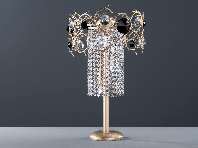 Halogen bronze table lamp with crystals DIAMOND | Table lamp by Serip